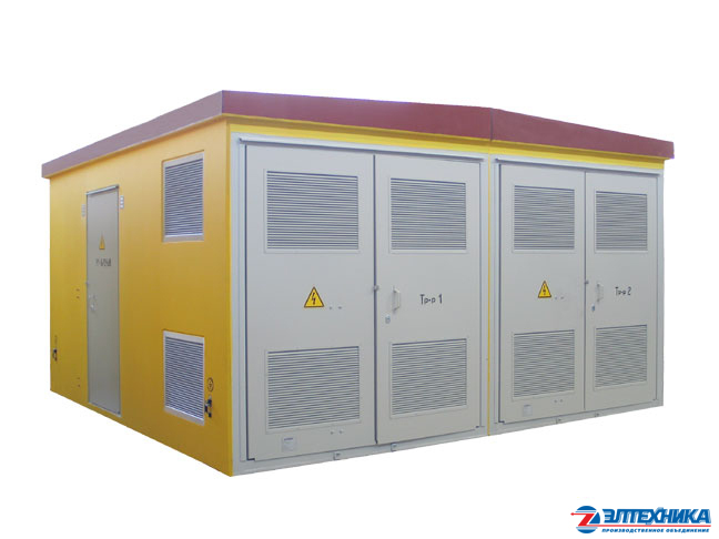 Complete transformer substations in concrete casing